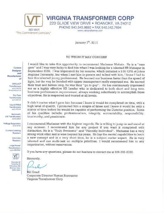 RECOMMENDATION LETTER FROM FORMER DIRECT BOSS (Click the letter to ...